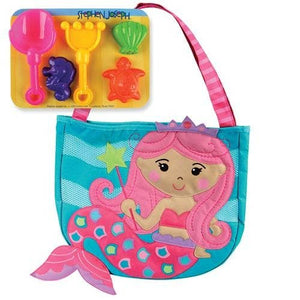 Stephen Joseph Gifts - Mermaid Beach Totes With Sand Toy Play Set