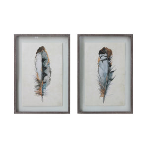 "20""L x 28-3/4""H Wood Framed Wall Decor w/ Feather, 2 Styles"