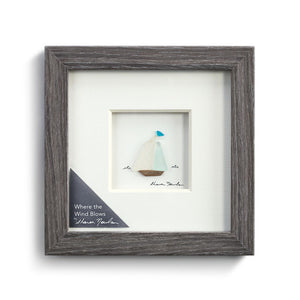 Where the Wind Blows Wall Art Pebble Wood Frame