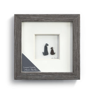 Furever Friends Wall Art Pebble Wood Frame