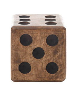 "4"" Sq Mango Wood Hand-Carved Dice"