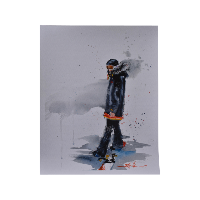 Snowboarder Watercolour