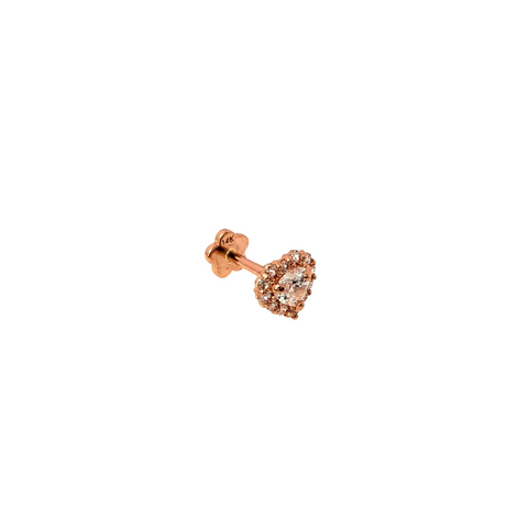 Heart  Halo W/CZ Threaded Stud Rose Gold