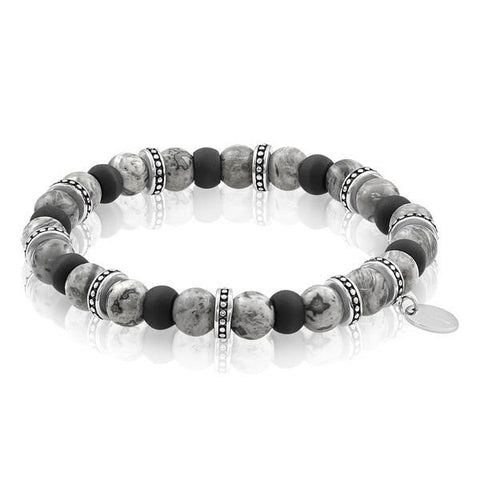 Mens Carbon Fiber Beaded Bracelet