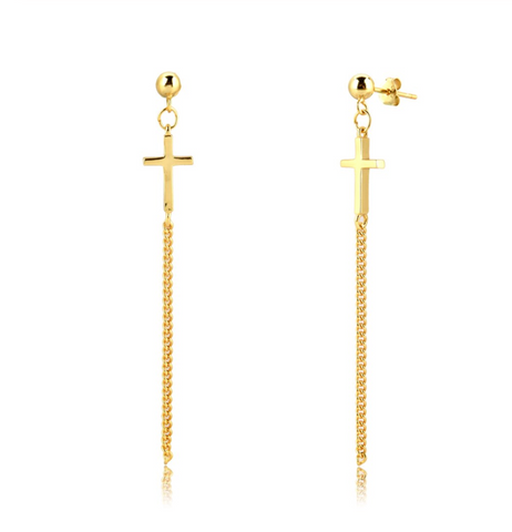 Long Cross Chain Studs