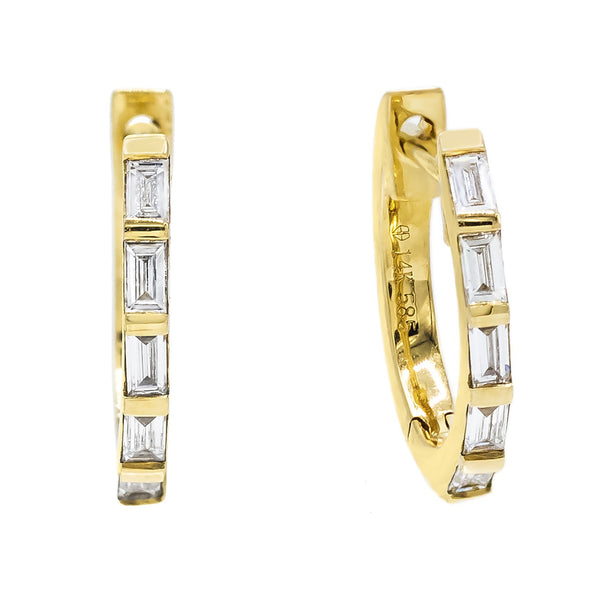 Diamond Baguette Earrings 14k