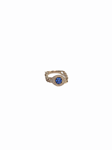 Diamond and Sapphire Evil Eye Chain Link Ring