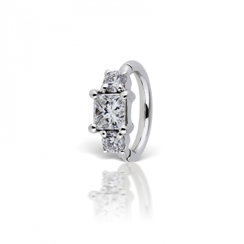 8mm 3mm Diamond Princess Ring