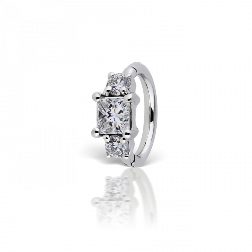 6.5mm 3mm Diamond Princess Ring