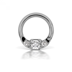 16g 8mm Cubic Zirconia Titanium Horizontal Princess Clicker