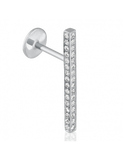 8mm Square Diamond Pave Bar Threaded Stud