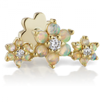Opal and Diamond Three Flower Garland Threaded Stud