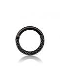 16g 8mm Black Cubic Zirconia Titanium Horizontal Eternity Ring