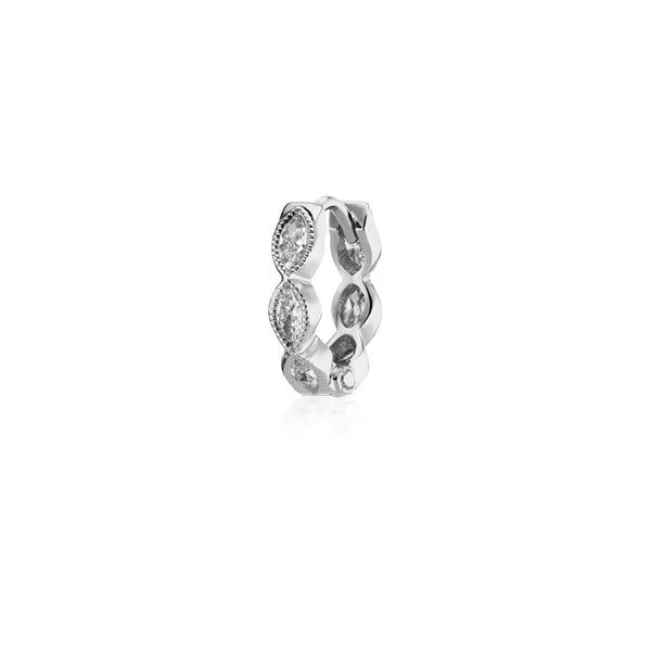 8mm Diamond Marquise Scalloped Eternity Ring