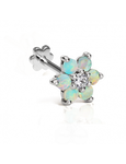 6.5mm Opal Flower with Diamond Center Threaded Stud