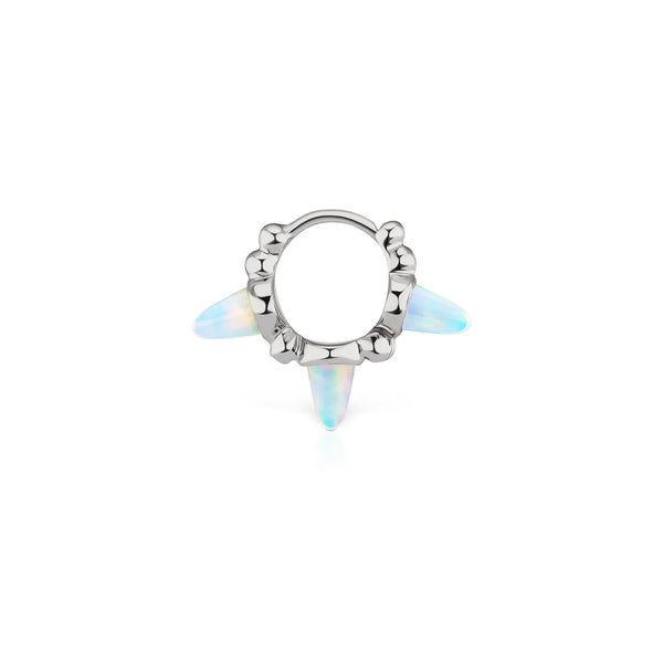 6.5mm Granulated Opal Triple Spike Clicker Ring