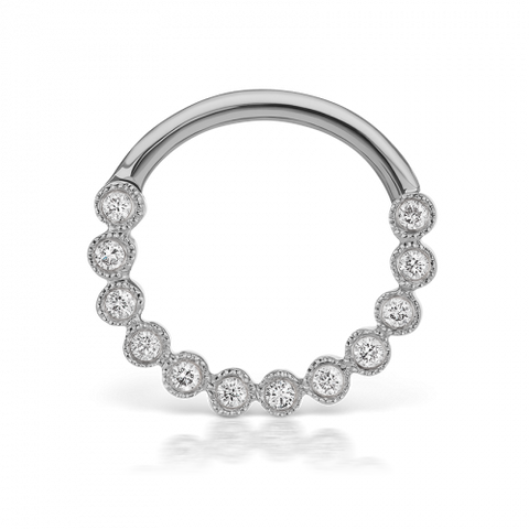 16g 9.5mm Diamond Scalloped Horizontal Eternity Clicker