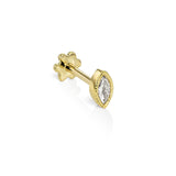 3.7mm Scalloped Marquise Diamond Threaded Stud