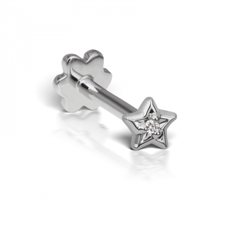 Diamond Solitaire Star Threaded Stud
