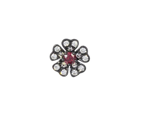 Diamond Pansy Threaded Stud Ruby
