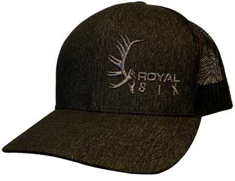 Royal Six Hat Silver on Black / Black