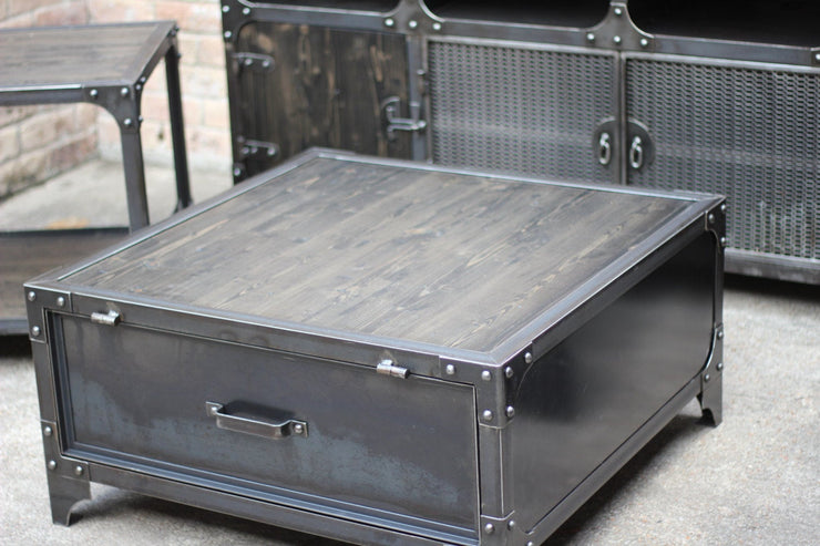 Industrial Metal and Wood Coffee Table