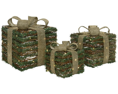 3 LED Pine Covered Christmas Wicker Parcels Gift Boxes Under The Tree