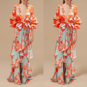 Sexy Deep V Neck Floral Printed Lantern Sleeve Shift Maxi Dress dfc2e2e62