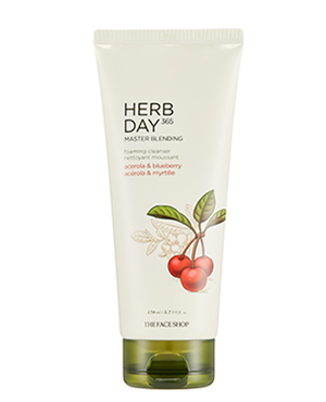 THE FACE SHOP Herb Day 365 Master Blending Foaming Cleanser - Acerola & Blueberry | CLEANSER | BONIIK