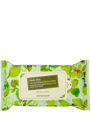 THE FACE SHOP Herb Day Lip & Eye Makeup Remover Wipes | CLEANSER | BONIIK