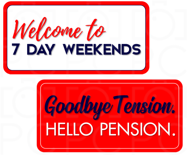 B-Stock - Welcome to 7 Day Weekends / Goodbye Tension. Hello Pension.
