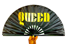 Load image into Gallery viewer, Queen Satin Statement Fan