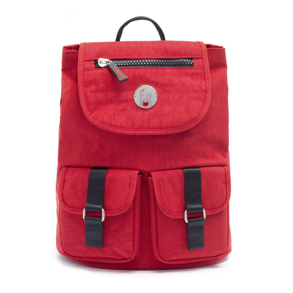Cristina Girl Mini Backpack Crinkle Nylon Lily Collection - Spanish Red