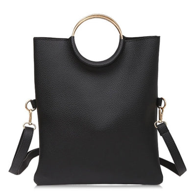 Metal Ring Convertible Tote Bag