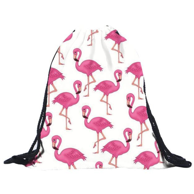 Unisex Flamingo 3D Drawstring Backpack
