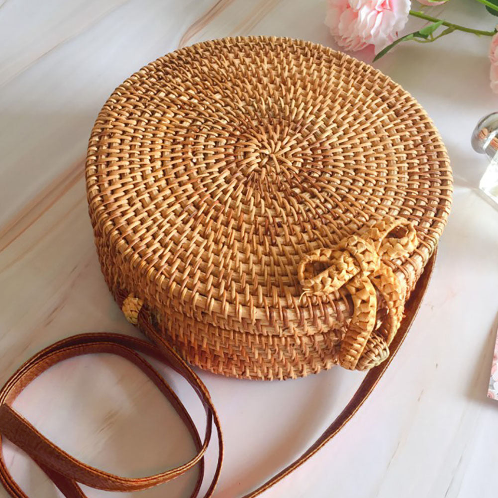 Handmade Beach Straw Bag Summer Swimming Vintage Rattan Woven Round Circle Bow Bag