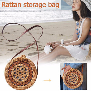 Summer Handmade Twist Woven Cutout Bag Beach Bag Vintage