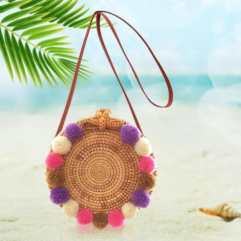Colourful Fluffy Balls Summer Rattan Shoulder Bags