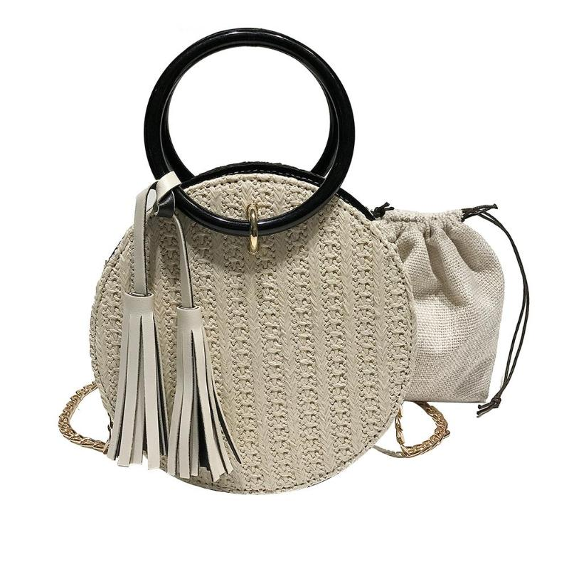 Circle Straw Summer Woven Rattan Tassel Handbag