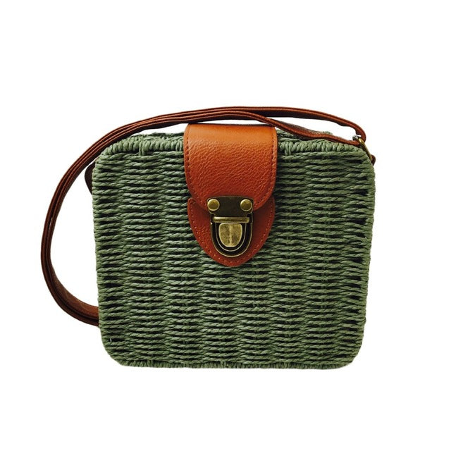 Rattan Woven Beach Shoulder Bags Ladies Crossbody Tote Handbag