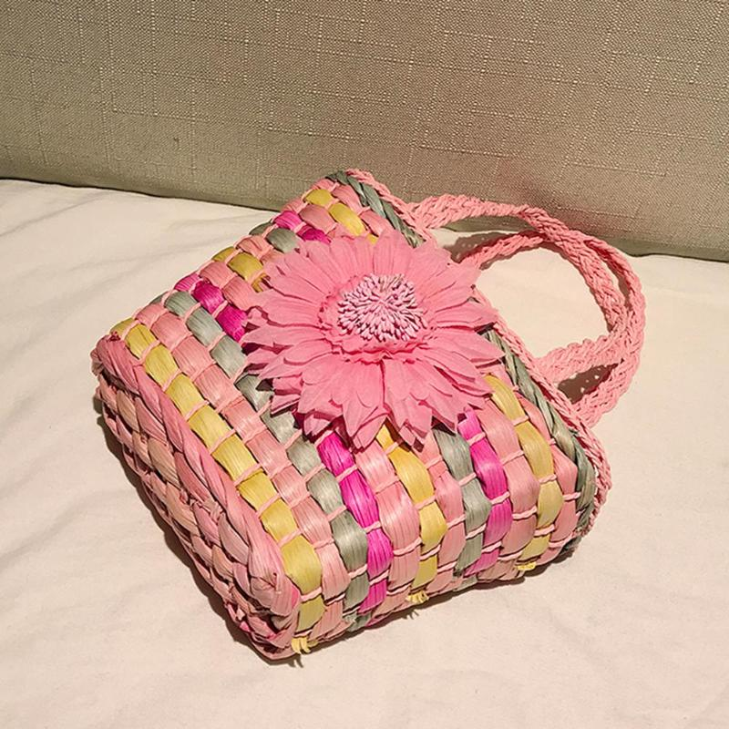 Summer Holiday Beach Handmade Rattan Woven Flower Handbag