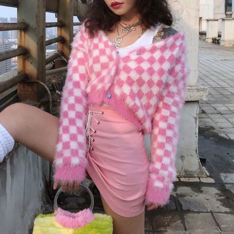 Harajuku Kawaii Fashion Checkered Cardigan with Rainbow Buttons
