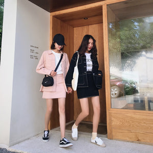 Harajuku Two Piece Denim Suit (Pink/Black)