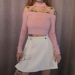 Harajuku Off Shoulder Choker Knit Crop Top (Black/Pink)