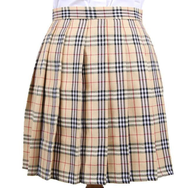 Harajuku Japanese School Uniform Beige Plaid Pleated Skirt