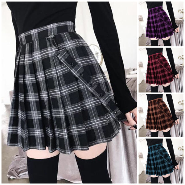 Plus Size Harajuku Gothic Yami Kawaii Fashion Plaid Pleated Mini Skirt (5 Colors)