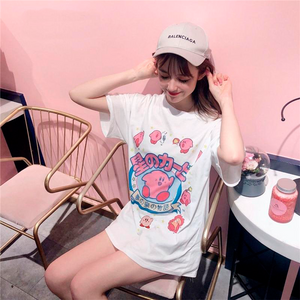 Harajuku 90s Kawaii Kirby T-shirt (Black/Pink/White)
