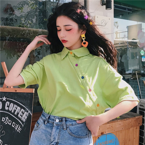 Harajuku Side Button Up Shirt (5 Colors)