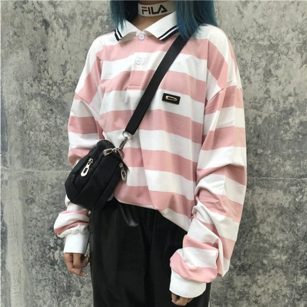 Harajuku Striped Polo Long Sleeve Tshirt (Red/Pink/Black)