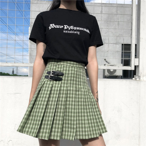 Harajuku High Waist Plaid Green Tennis Skirt